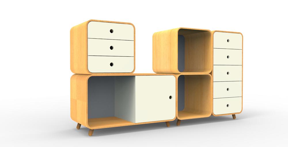 רהיטים של RACK & TACK. מערכת Cubby Set, מודולרית בהתאמה אישית
