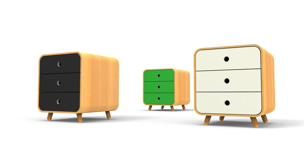 רהיטים של RACK & TACK. Mini Cubby, ארונית המגירות הקטנה בירוק, לבן ושחור