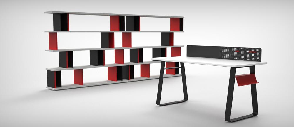 רהיטים של RACK & TACK. שולחן Dotty משלב לוח לתליה ולוח מגנטי ולידו יחידת המדפים Case by Case