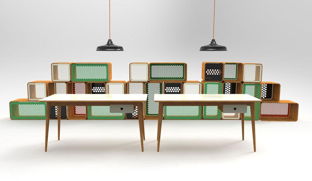 רהיטים של Rack & Tack. יחידות אחסון מודולריות Honeycomb ושולחנות Berta