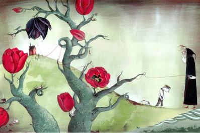 ג'ק והמוות, נטלי פודלוב. איור לספר הילדים של טים באולי בהוצאת OQO הספרדית