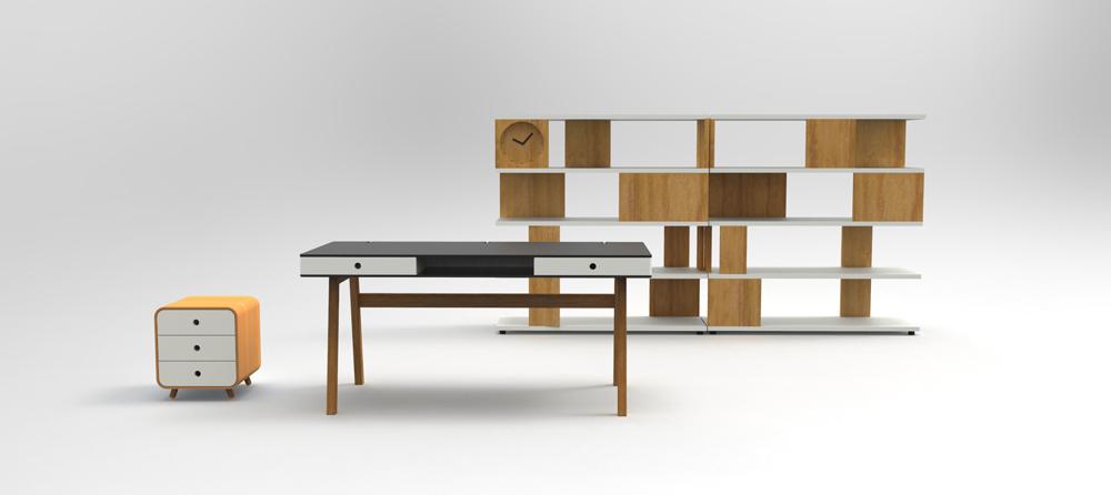 רהיטים של RACK & TACK. יחידת אחסון מודולרית Clock on a Block ושולחן Cover Story