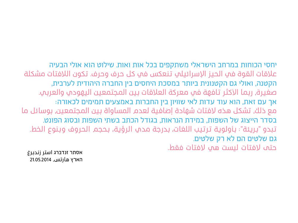 גם שלטים הם לא רק שלטים. מתוך טקסט של אסתר זנדברג בעברית (תכלת) ובערבית (ורוד)