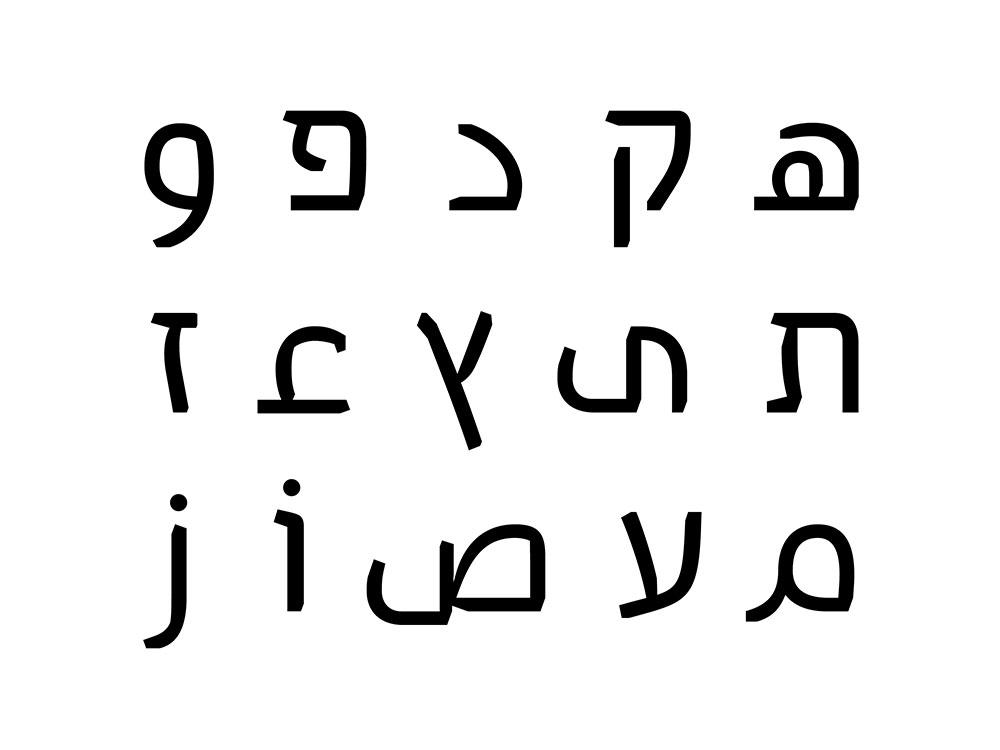 האותיות ק, פ, ת, ץ, ז, ע, ו - בעברית ובערבית