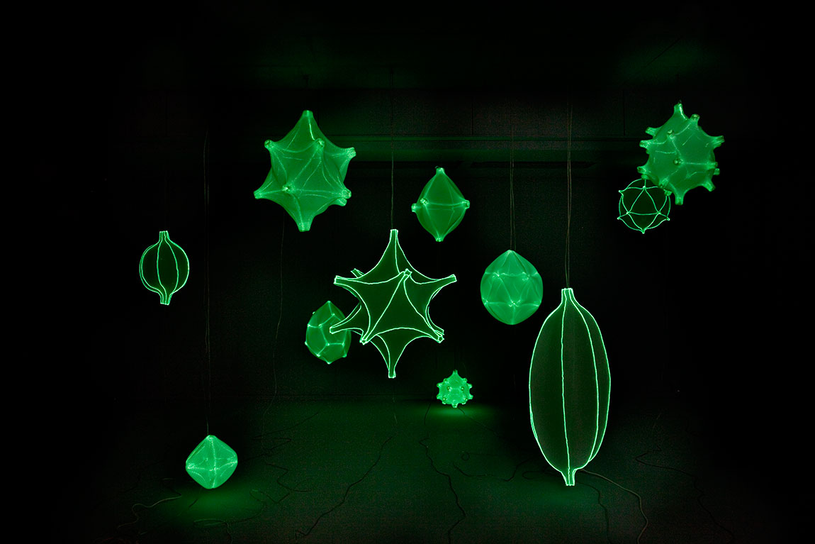 Radiolaria, גופי התאורה של סטודיו ברנוטאט & קו מאירים בחשיכה. צילום: Rogier Chang
