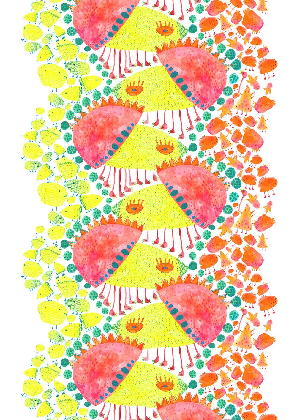 ירוק-צהוב-תכלת- אדום-ורוד-כתום. איור מתוך בוטניקה מפלצתית