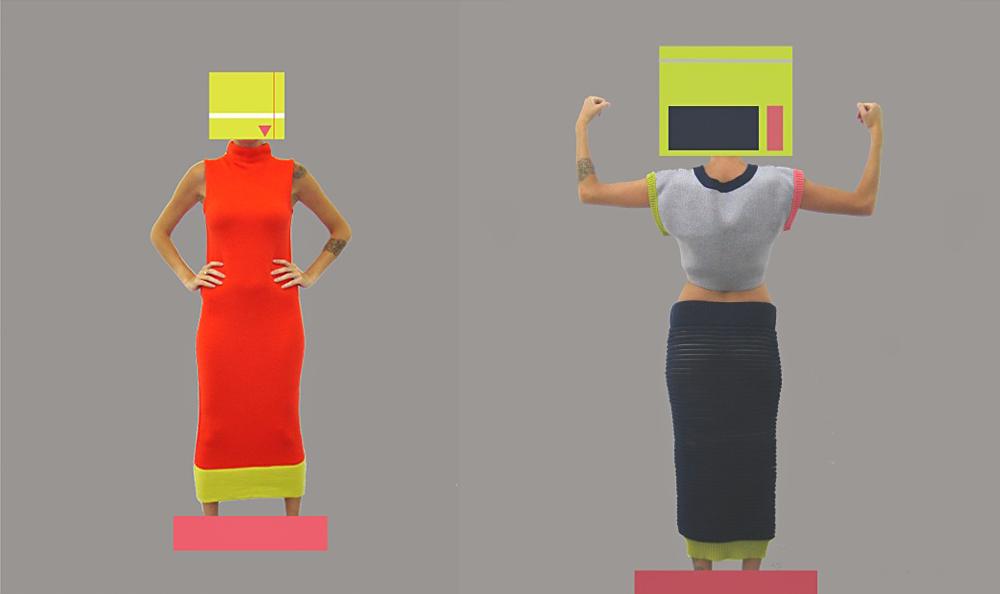 KNITSTERS. בשמלה אדומה (וחצאית שחורה)