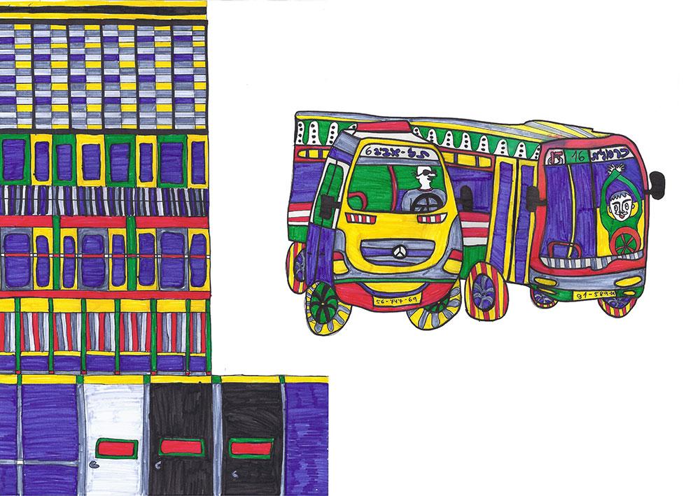סיפורים מהרחוב. קיר מתייפח, אוטובוס מת. איור של בניין ואוטובוס