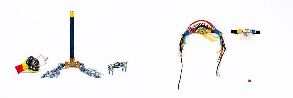 אובייקטים מפרויקט הגמר של אורי אפרת. רצף של קשרים ומחברים כאנלוגיה למילים ומשפטים