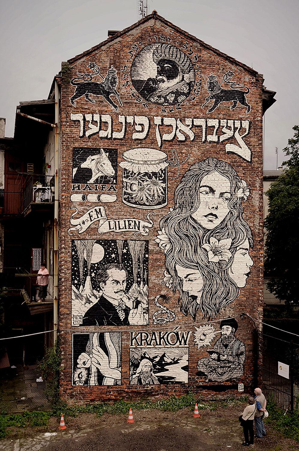 קיר של ברוקן פינגאז, קרקוב, פולין