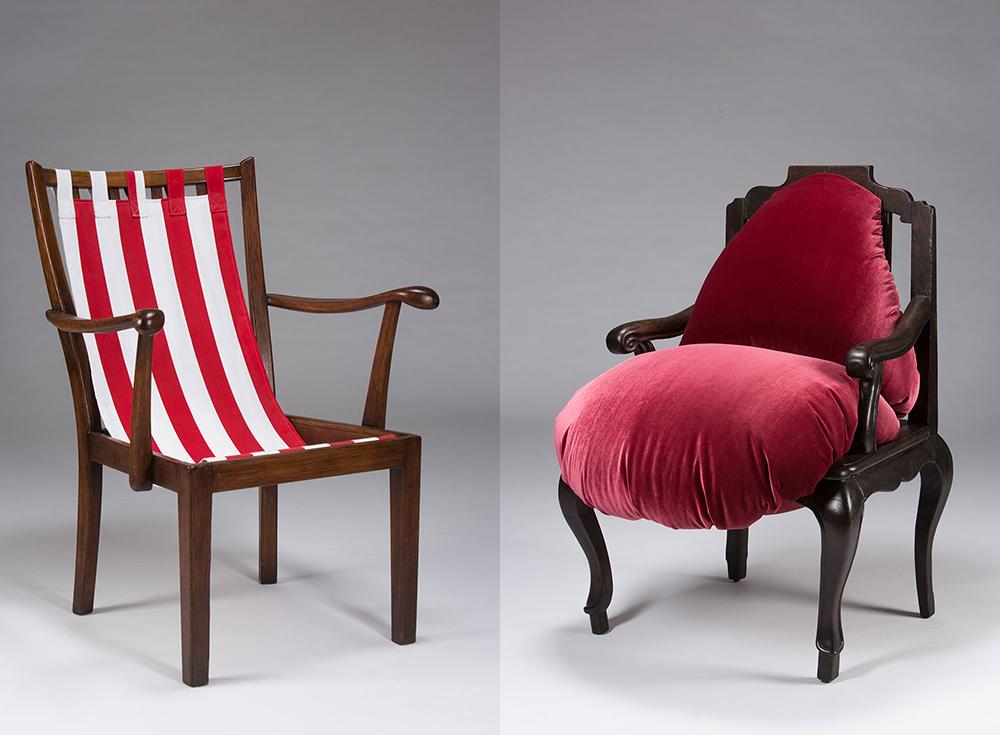 Copelius, שתי הכורסאות שעיצבה יערה דקל. בעזרת העיצוב הופכים הכיסאות המוכרים לזרים, מפחידים או מעוררי רתיעה
