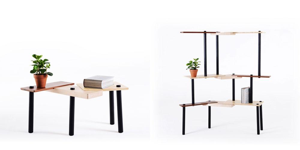 שולחן קטן ומחיצה CUBII, אוסף טולמנ'ס. שלושה סוגי עצים