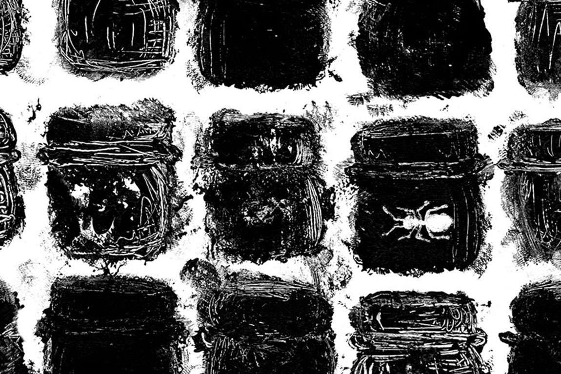רישומי פחם, פרט מאיור השיר זנב הלטאה של שיר המקצוע