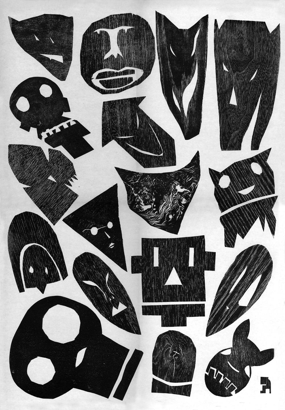 פרצופים הנראים כמגזרות נייר מפחידות. ערן נווה ואוריאל הר טוב, דפוס בלט