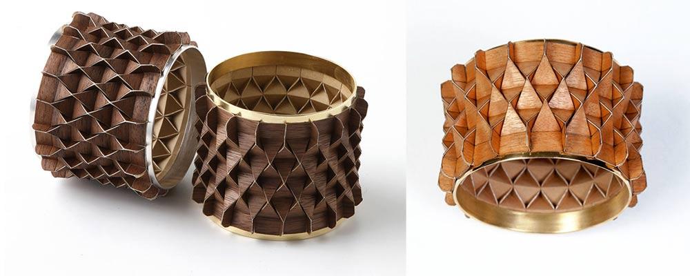 אוריגמי מעץ. צמידי הפורנירון. צילום: דני לרנר
