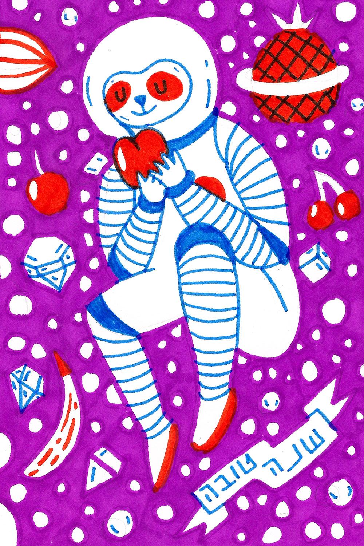 אשה בחליפת חלל אוכל תפוח אדום. השנטובה של אור לבנה