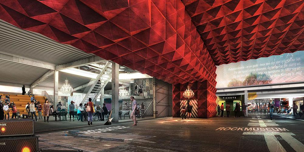 מוזיאון הרוק הדני, המרכזי שבמבני ROCKmagneten, הקומפלקס שתכננו MVRDV  ו-COBE , ועתיד להיפתח בשנה הבאה בדנמרק