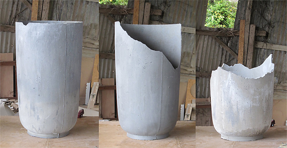 Concretes. בין השבור לשלם. שלושה כדי בטון, אחד שבור, אחד שבור פחות, ואחד לא שבור