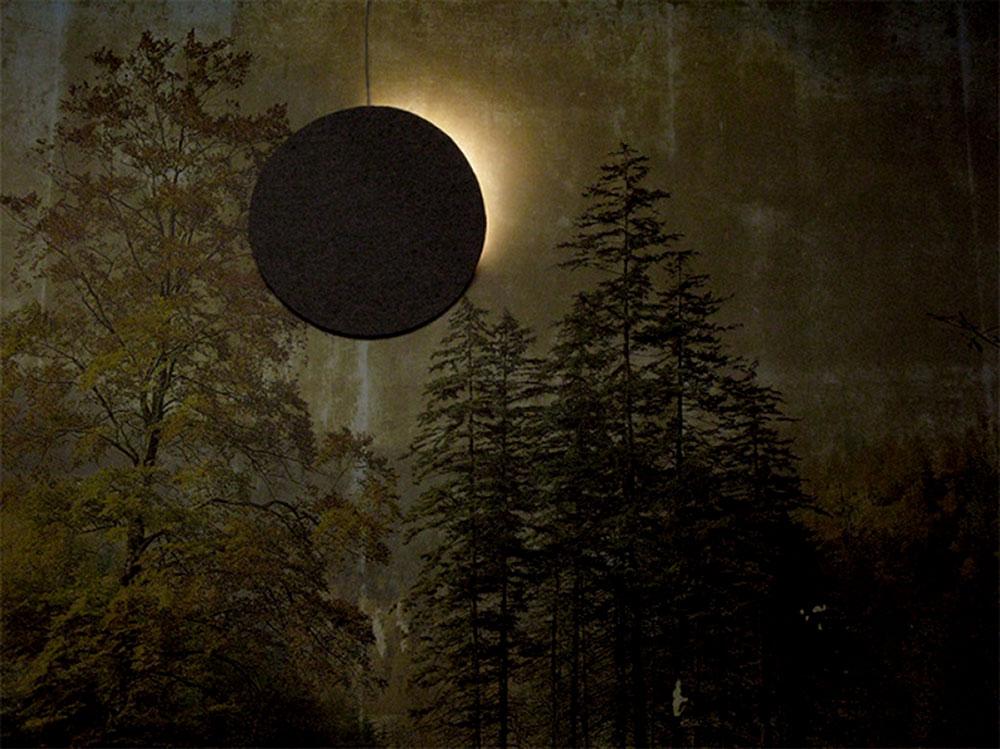 טל מור. עיגול תאורה על ציור נוף מחטיים