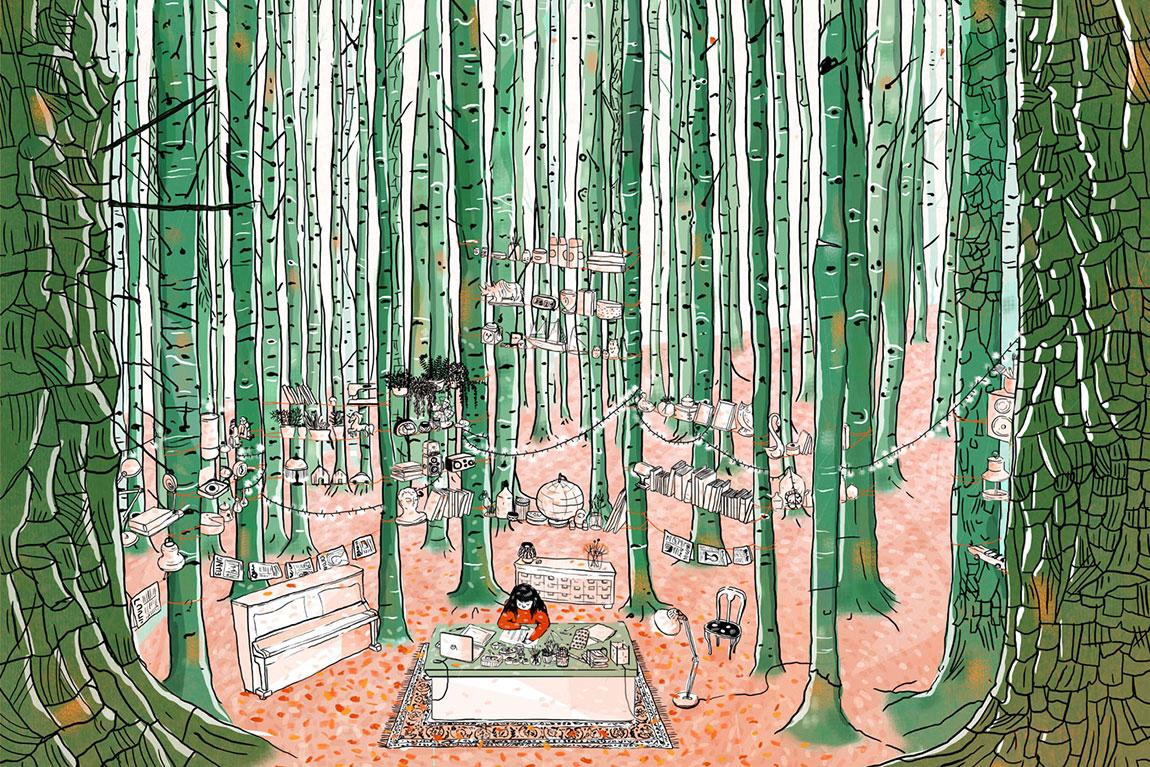 דמות יושבת ביער גזעים ירוקים צרים וגבוהים. איור של עינת צרפתי