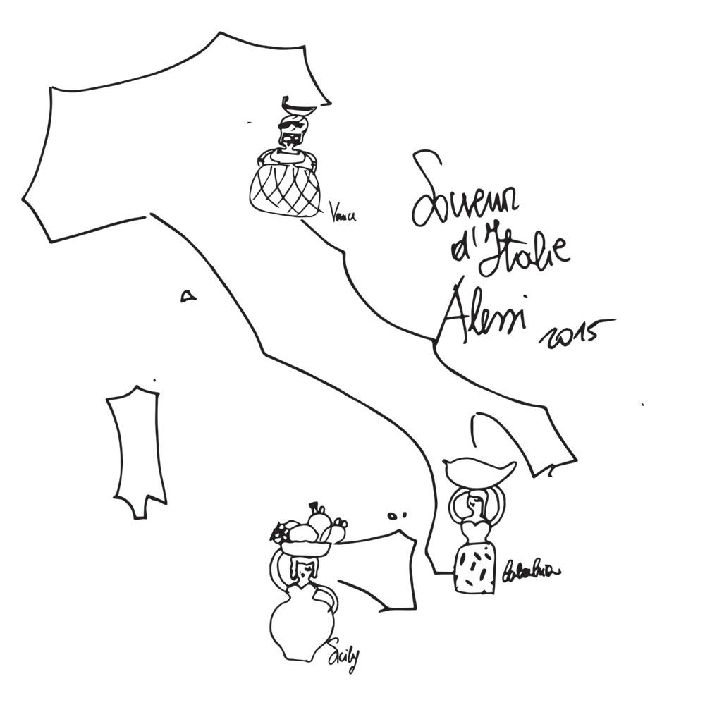 SOUVENIR D'ITALIE. סקיצה של איטליה כמגף כשבעל איזור המיניאטורה שלו