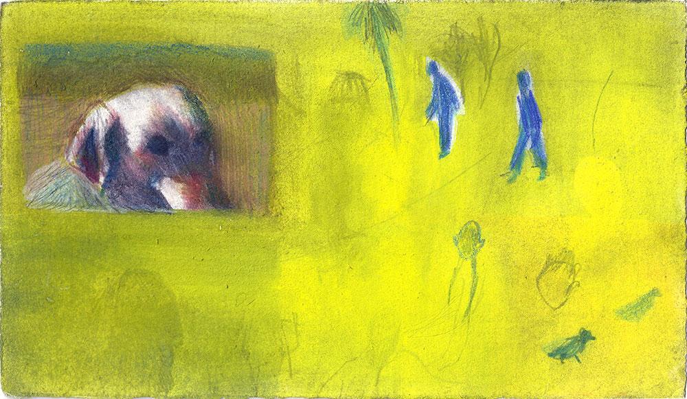 רקע צהוב 2 דמויות ודמות כלב