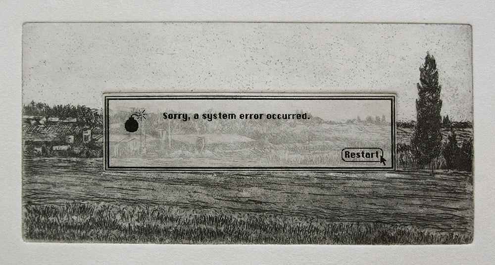 """ריסטארט. """"שלט דרכים"""" נטוע בנוף ועליו הודעה מצטערים, אירעה שגיאת מערכת"""