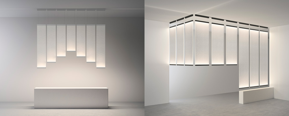Curtain. תאורה תחתונה כגוף תאורה הנתלה מהתקרה מעל שולחן אוכל (משמאל) ושימוש כמחיצה מוארת (מימין)