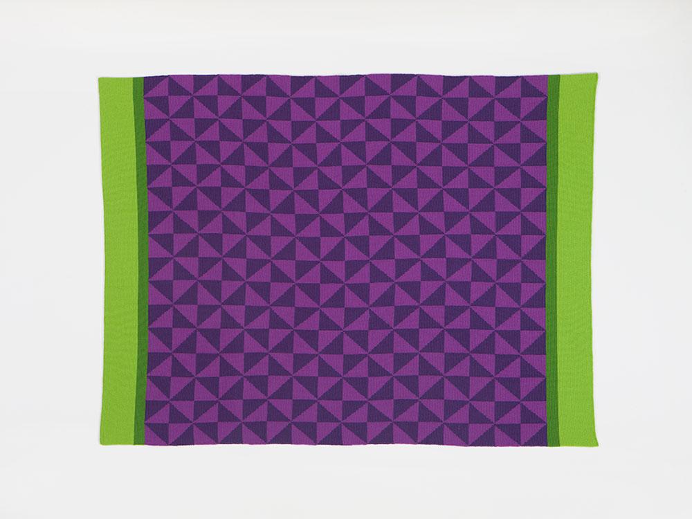 Anna, משולשים סגולים ופסים ירוקים. שמיכה של אנה גיטלסון-קאהן