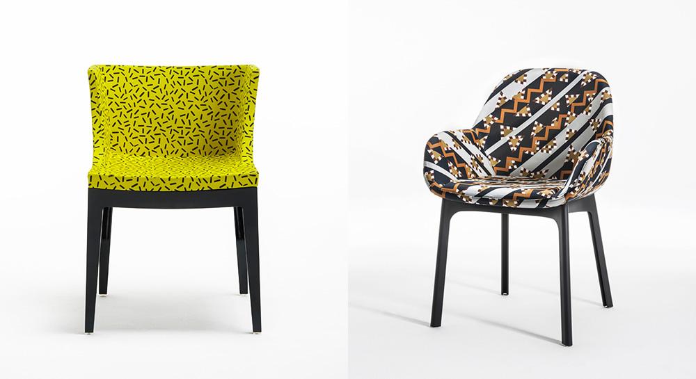 """כיסא מדמואזל, את דוגמת הבד עיצב סוטסאס. כיסא קלאפ, עיצוב הבד של נטלי דו פסקואייה. צילום: יח""""צ"""
