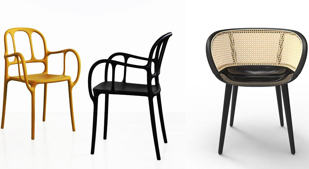 "Mila, כיסא הפלסטיק הראשון שלחיימה חיון (משמאל) ו-Cyborg של מרסל וונדרס עם מושב קלוע. מג'יס 2015. צילום: יח""צ"