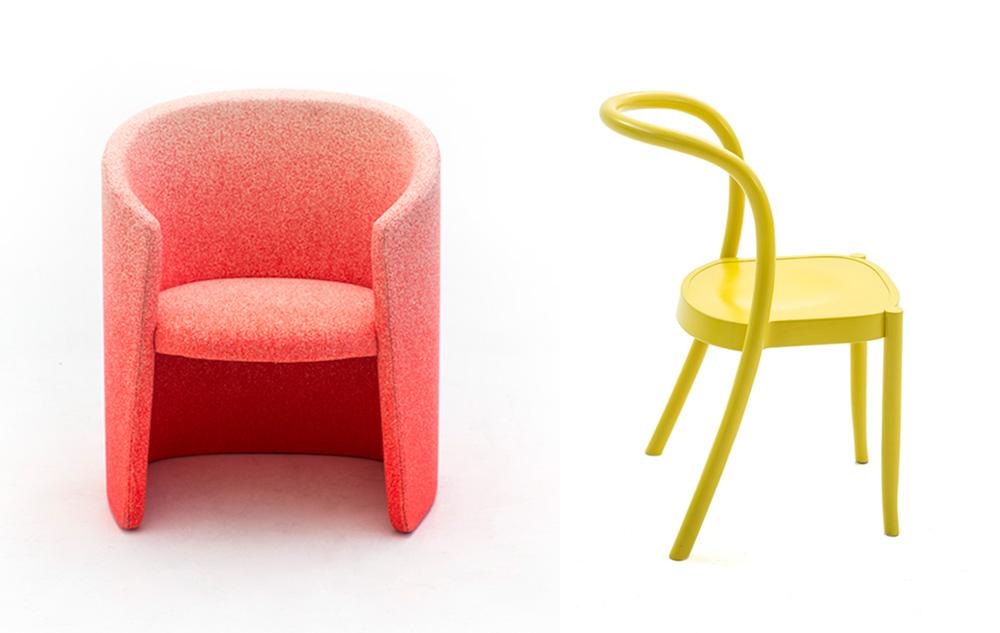 St. Mark (מימין), מרטינו גמפר, ו-Husk, מארק תורפ. כיסא אלומיניום וכורסה בהשראת קליפת תירס