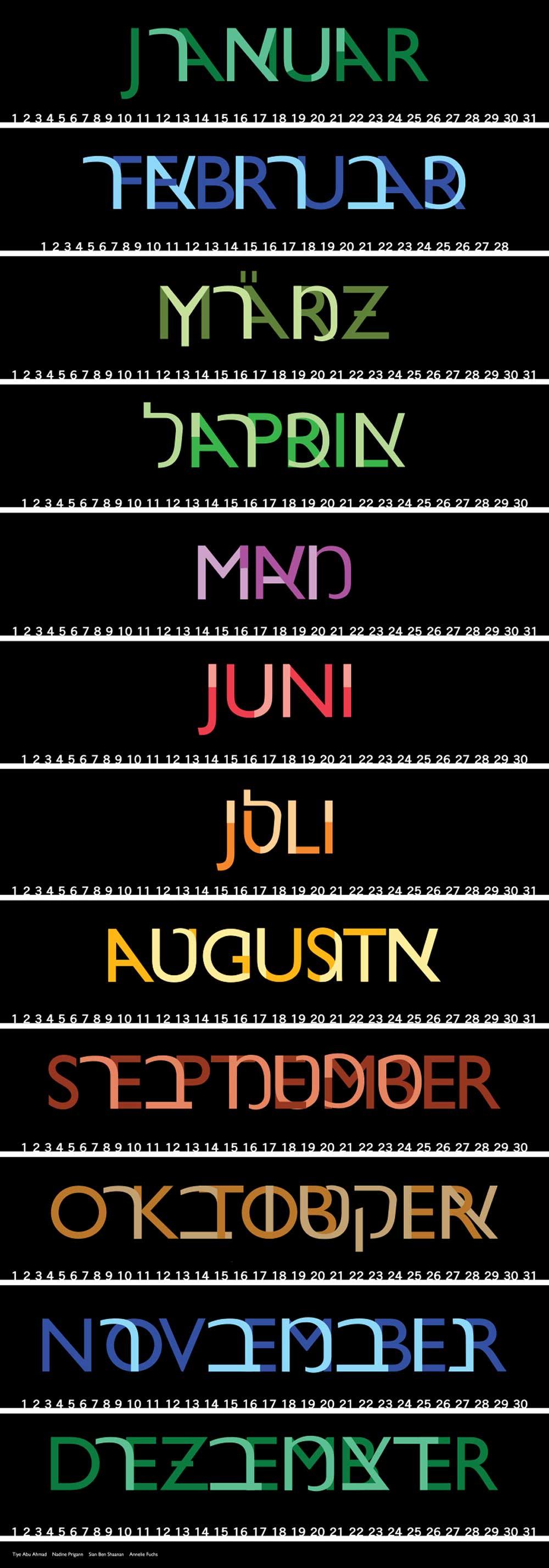 חודשי השנה, הכרזה של אנאלי פאושס, סיאן בן שאנן, נאדין פריגן, טאי אבו אחמד