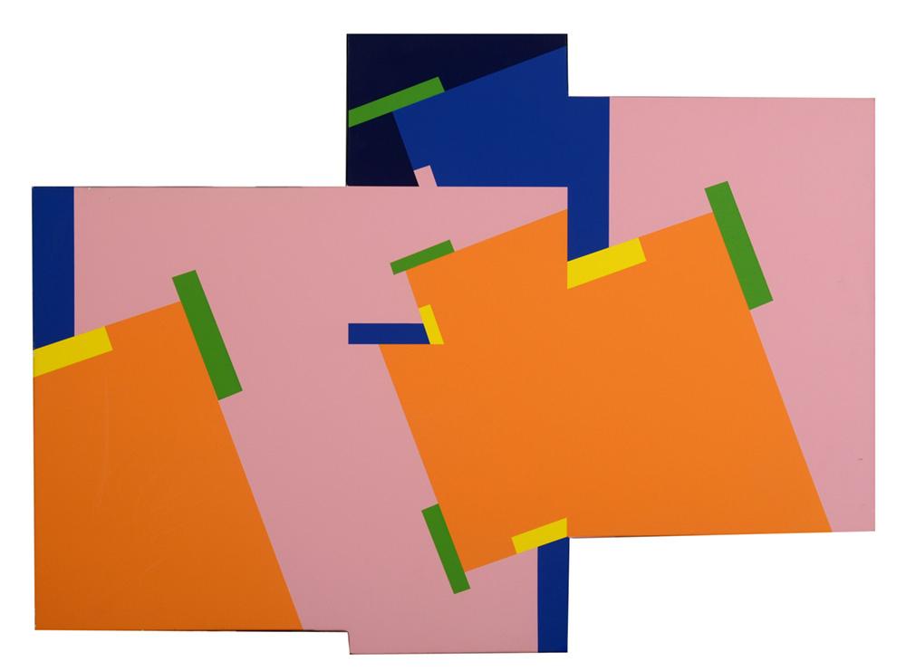 לכידת רחוב, עבודה של דן רייזינגר בוורוד, כתום, ירוק, כחול ושחור