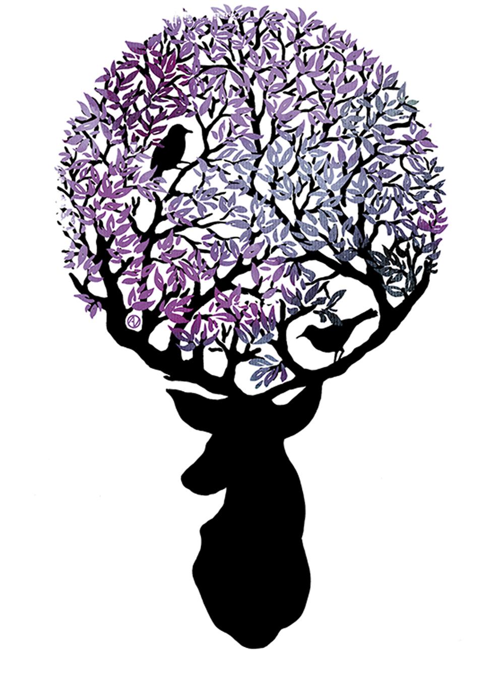 ציפורים בין ענפי עץ המשתרג מקרניו של אייל
