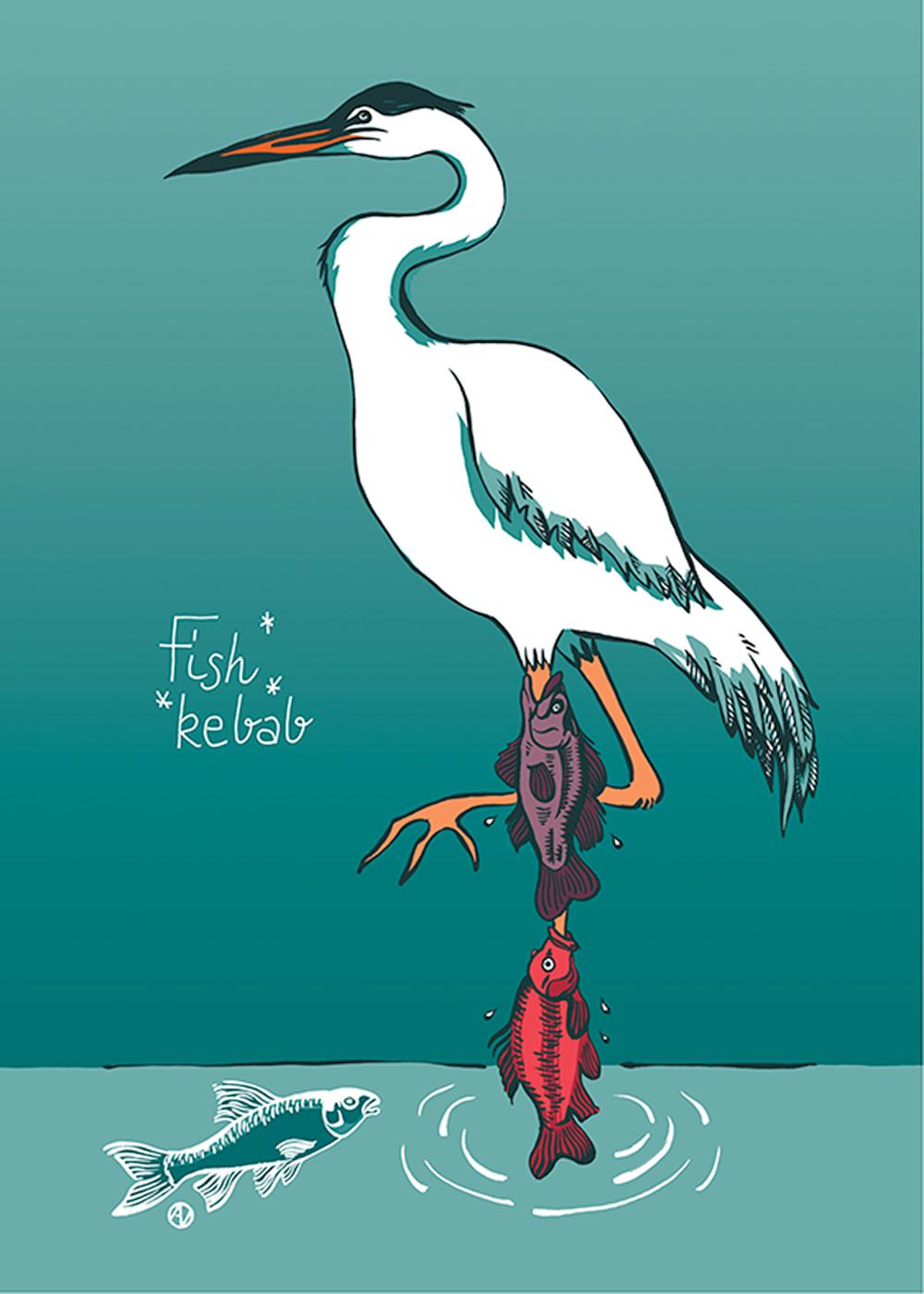 Fish Rebab, חסידה שרגלה האחת נעוצה בפיותיהם של שני דגים