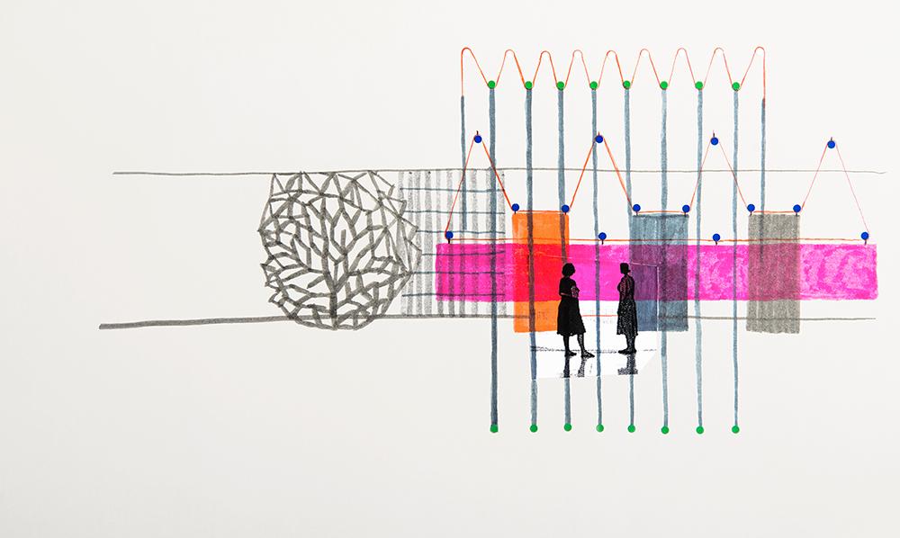רישום הכנה בתהליך מחקר, 2014, עט לבד על נייר צילום © סטודיו בורולק
