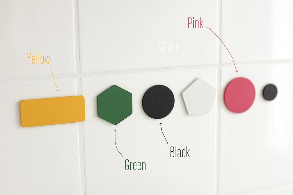 עיגול, הקסגון, משושה ומלבן - דוגמאות הבסיסים הצבעוניים