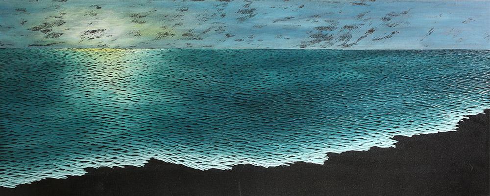 Jung Kwang Sik, נוף - חוף מזרחי 01, 2014. גרניט שחור, אקריליק
