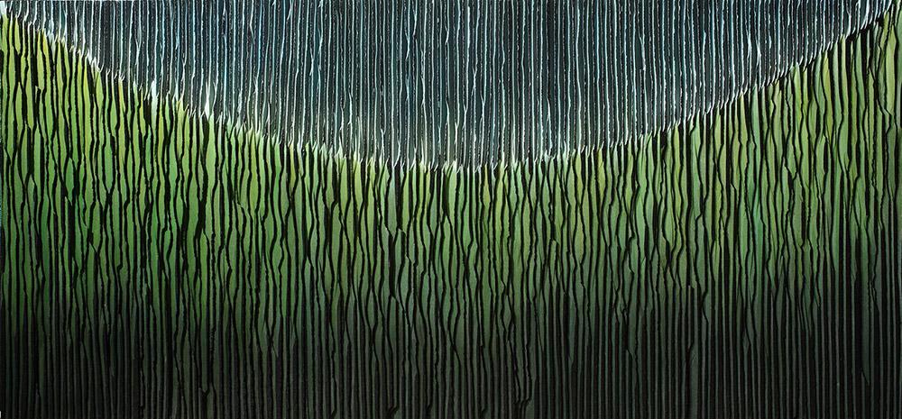 Jung Kwang Sik, נוף ג.פ 01, 2014. גרניט שחור, אקריליק