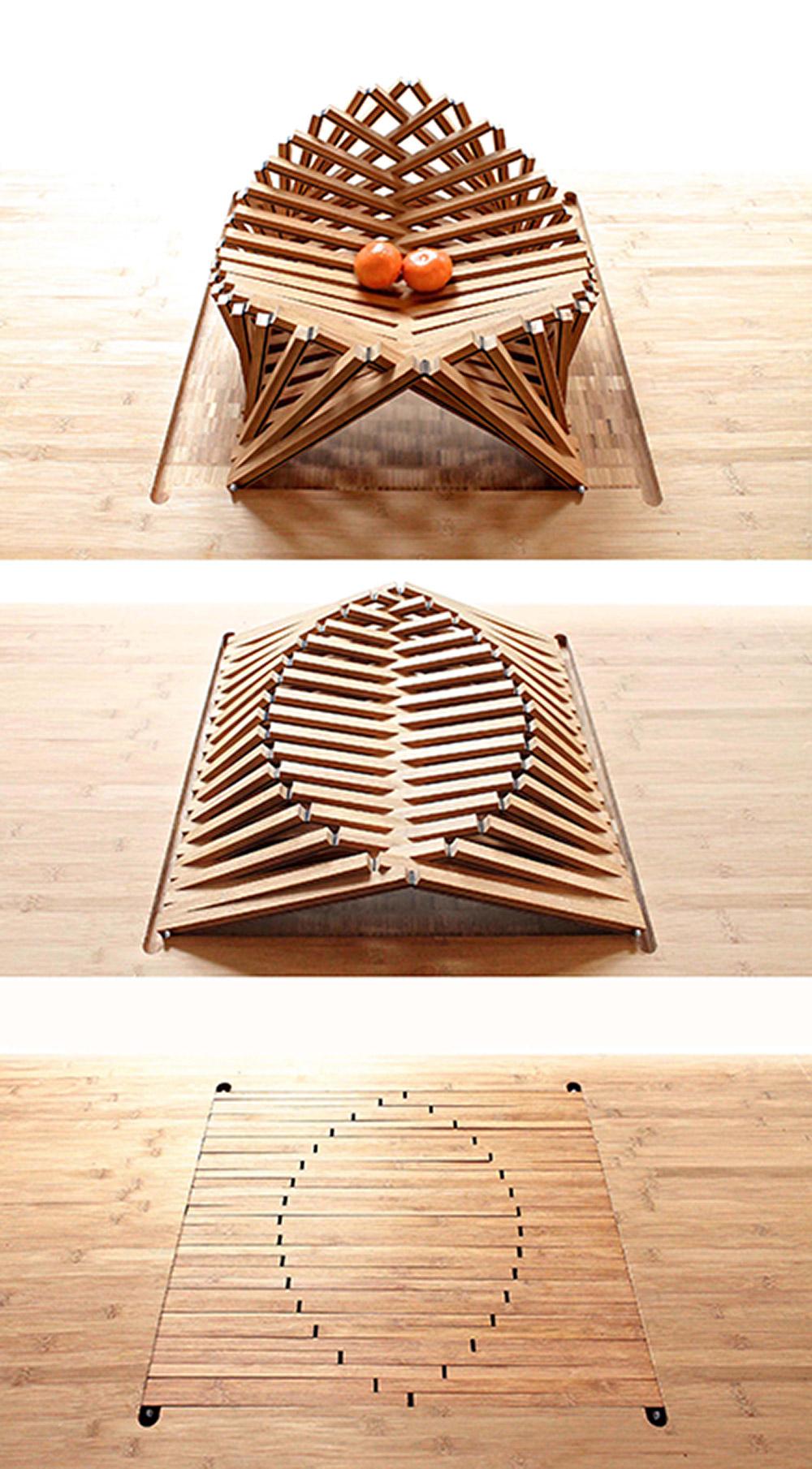 מתקפלת ומתמזגת עם משטח השולחן בתנועה אחת קלה ורציפה