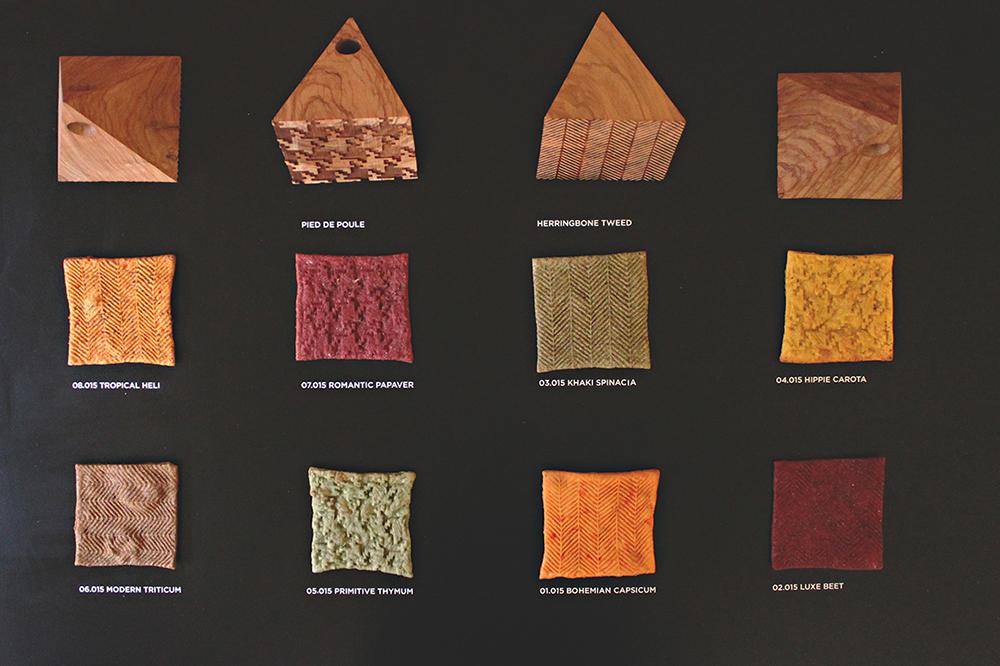 דוגמאות הבצק הצבעוניות והמדוגמות במיזם PAN IS ARTOS שהוצג בשבוע העיצוב של מילנו 2015