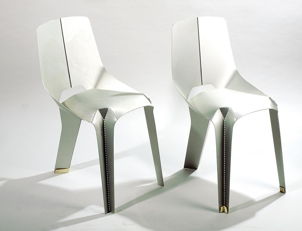 רן אמיתי, שני כיסאות אלומיניום חתומים מסדרת Nature Of Materials