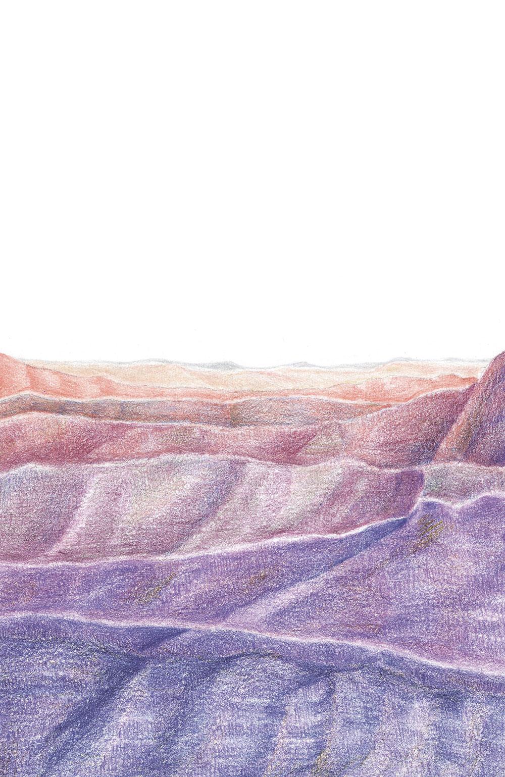 עדי מרמרי, 2016, Deep Purple, עפרונות צבעוניים, 200 שח