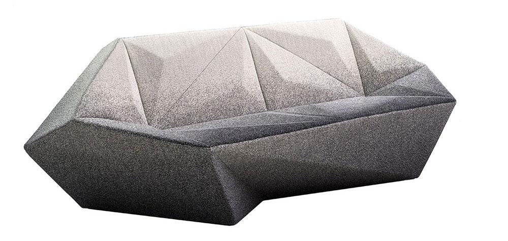 a, הספה שעיצב דניאל ליבסקינד למורוסו - ריפוד הבד גדיאנטי