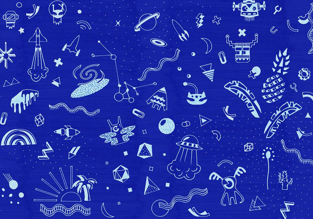 רקע כחול ואיור צורות מסרגלים שונים