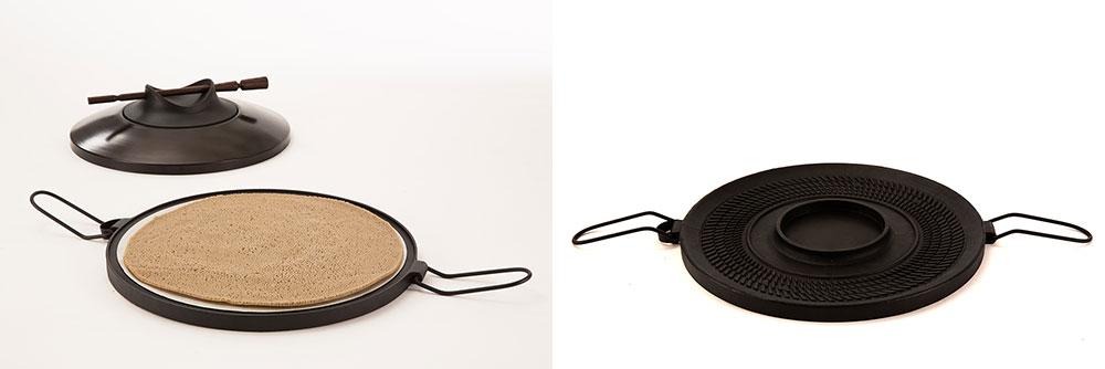 כלי בישול האינג'רה פתוח עם אינג'רה ובלעדיה
