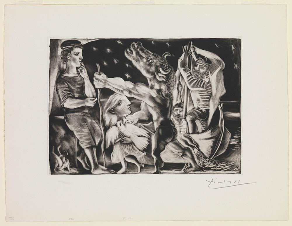 פבלו פיקאסו. מינוטאור עיוור מובל בידי ילדה בלילה, סדרת וולאר, 1934. אוסף מוזיאון ישראל