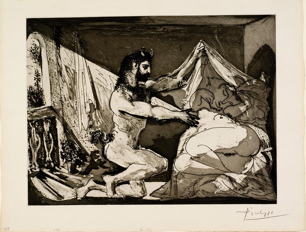 פבלו פיקאסו. פאון מגלה אישה, סדרת וולאר, 1936. אוסף מוזיאון ישראל