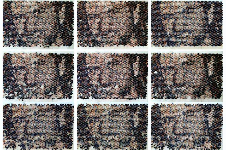 2,000 הכוסות מרכיבות את דיוקנו של בן סלע, בן-הדוד שנהרג במלחמת לבנון השנייה